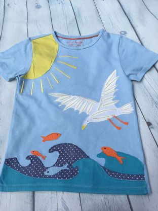 Mini Boden pale blue applique seagull tshirt age 6-7